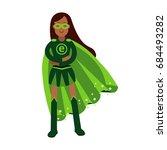 ecological superhero woman... | Shutterstock .eps vector #684493282