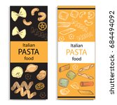 template card with pasta... | Shutterstock .eps vector #684494092