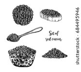 hand drawn set of red caviar.... | Shutterstock .eps vector #684495946