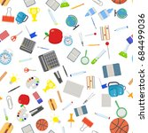 different school objects in... | Shutterstock .eps vector #684499036