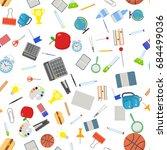 different school objects in... | Shutterstock .eps vector #684499036