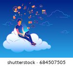 young man sitting on the cloud... | Shutterstock .eps vector #684507505