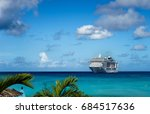 cruise ship in crystal blue... | Shutterstock . vector #684517636