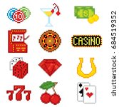 casino icons set. pixel art.... | Shutterstock .eps vector #684519352