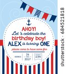 nautical sailor theme printable ... | Shutterstock .eps vector #684521818