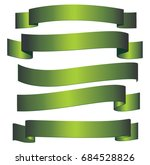 Set Of Five Green Glossy Ribbons