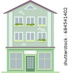 urban multi storey house with... | Shutterstock .eps vector #684541402