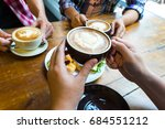 latte coffee art and team work... | Shutterstock . vector #684551212
