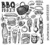 barbecue and grill set .vector... | Shutterstock .eps vector #684553555
