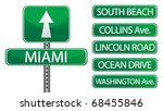 Miami Florida street signs isolated over a white background