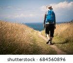 man walking on camino de...   Shutterstock . vector #684560896
