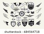 monochrome mega set of retro...   Shutterstock .eps vector #684564718