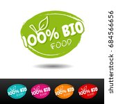 set of 100  bio food badges.... | Shutterstock .eps vector #684566656
