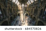 Small photo of London, UK - July 25, 2017: People visiting the new Hintze hall in the Natural History Museum featuring a blue whale skeleton