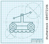 vetor blueprint trolley icon on ... | Shutterstock .eps vector #684572146