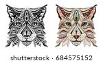 patterned head of lynx   wild... | Shutterstock .eps vector #684575152