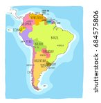 hand drawn vector map of south... | Shutterstock .eps vector #684575806
