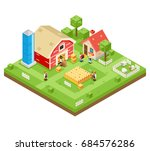 village agriculture farm rural... | Shutterstock .eps vector #684576286