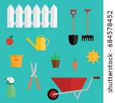set of gardening tools icons.... | Shutterstock .eps vector #684578452