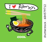 noodle ramen cartoon with egg... | Shutterstock .eps vector #684579712