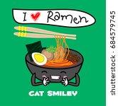 noodle ramen cartoon with egg... | Shutterstock .eps vector #684579745