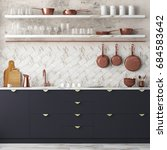 mockup interior kitchen in loft ... | Shutterstock . vector #684583642