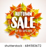 autumn sale  vector banner... | Shutterstock .eps vector #684583672