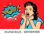 sexy surprised blonde pop art... | Shutterstock .eps vector #684584488