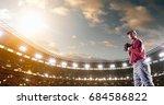 a male baseball player performs ... | Shutterstock . vector #684586822