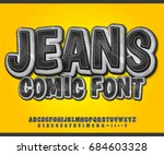 black denim font on yellow... | Shutterstock .eps vector #684603328