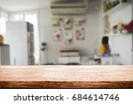 wood desk space and blurred of... | Shutterstock . vector #684614746