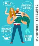 seafood cartoon poster. sailor... | Shutterstock .eps vector #684615952