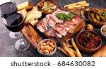 italian antipasti wine snacks... | Shutterstock . vector #684630082