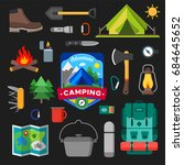 set of camping outdoor activity ... | Shutterstock .eps vector #684645652