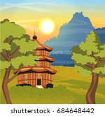 chinese pagoda with a red roof  ... | Shutterstock .eps vector #684648442