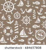 nautical background  seamless ... | Shutterstock .eps vector #684657808