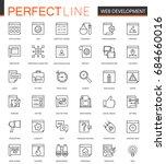 seo and development thin line... | Shutterstock . vector #684660016