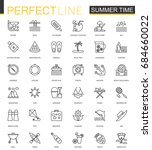 summer time thin line web icons ... | Shutterstock . vector #684660022