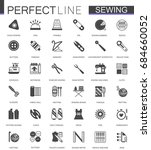black classic sewing needlework ... | Shutterstock . vector #684660052