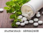 medicine herbal pills with... | Shutterstock . vector #684662608