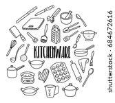kitchenware hand drawn doodle... | Shutterstock .eps vector #684672616