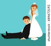 bride and groom  cartoon. funny.... | Shutterstock .eps vector #684673192