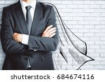 businessman with drawn cape on... | Shutterstock . vector #684674116
