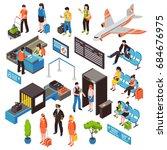 airport passengers check in... | Shutterstock .eps vector #684676975