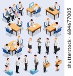recruitment isometric people... | Shutterstock .eps vector #684677005