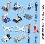 airport isometric people... | Shutterstock .eps vector #684677122
