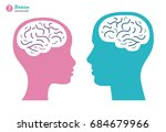 man and woman heads with brain... | Shutterstock .eps vector #684679966