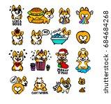 corgi emoji stickers  patches... | Shutterstock .eps vector #684684268