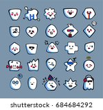 cute emoji stickers  patches... | Shutterstock .eps vector #684684292