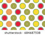 summer fruit pattern set  ... | Shutterstock .eps vector #684687538
